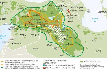 Mapa del Kurdistán