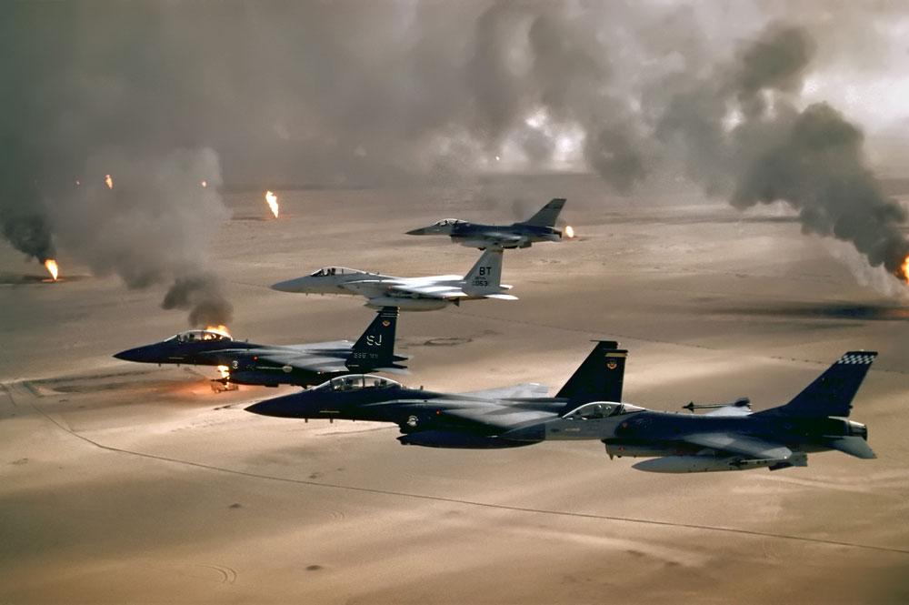 Pozos de petróleo incendiados durante la Guerra de Irak