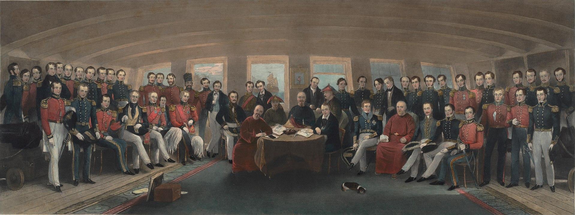 Firma del tratado de Nanking. 1842